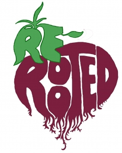 ReRooted logo - the words ReRooted illustrated in the shape of a beetroot