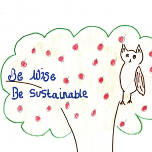 Sustainable Bishop. Be wise, be sustainable. Children's drawing with an owl in a tree.