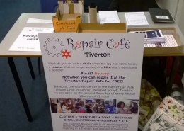 Tiverton Repair Café reception sign