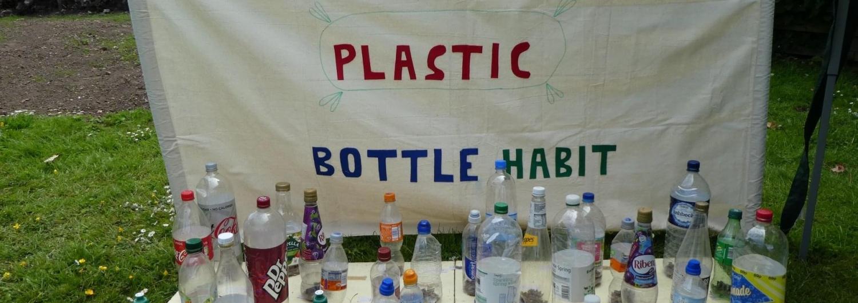 Plastic bottles and tennis balls. Let's Smash the Plastic Bottle Habit stall