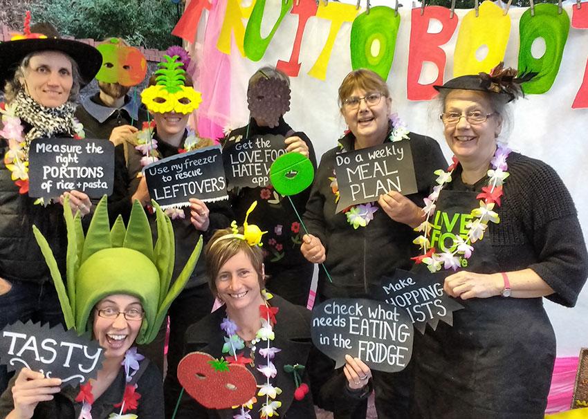 A group of peole in food-themed fancy dress