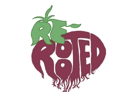 A graphic with the words ReRooted in the shape of a beetroot